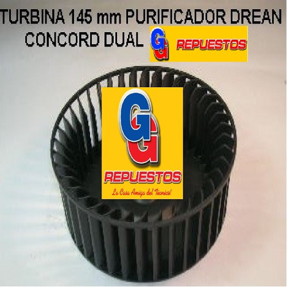 TURBINA PURIFICADORA DREAN CONCORD DUAL CON MORDAZA IZQUIERDA ALTO 5.5cm DIAMETRO 14.5cm EJE 5mm