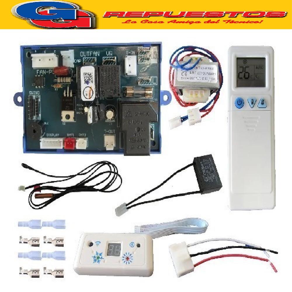 PLAQUETA AIRE ACONDICIONADO UNIVERSAL.CON PG QD-U08PGC+ CON DISPLAY Y CAPACITOR INCORPORADO DE 1.5 uF Y CONTROL REMOTO
