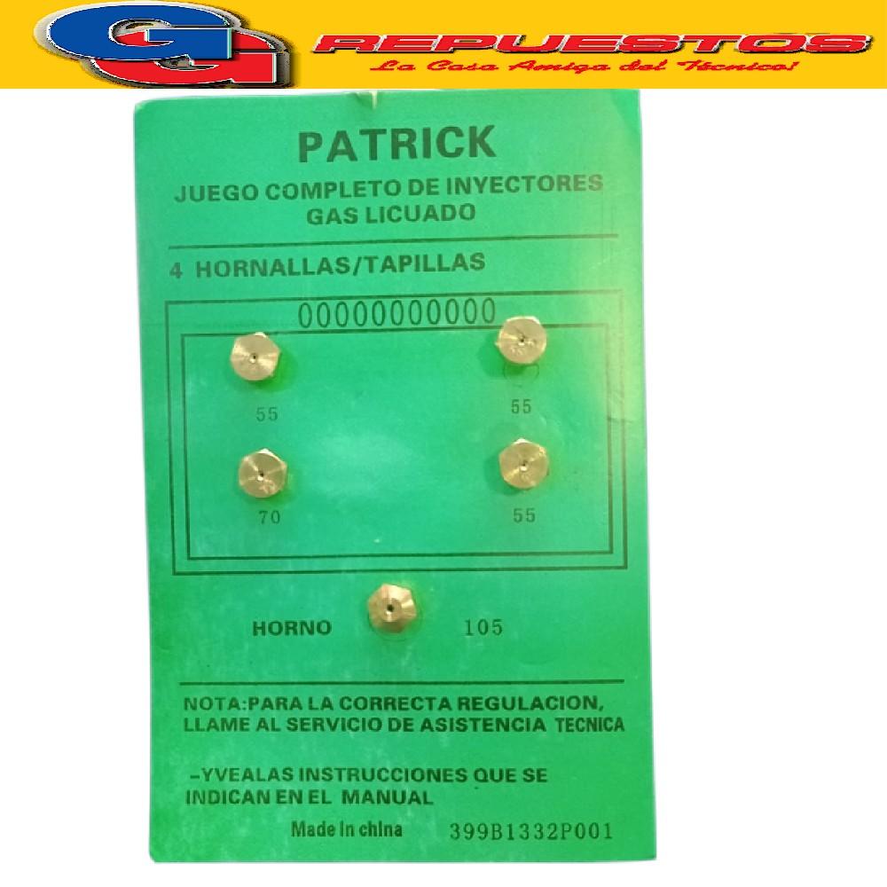 KIT DE INYECTORES CONVERSION CPF NUEVO GAS LICUADO DE PETROLEO GLP GAS ENVASADO 1 HORNO- 1 MEDIANO- 3 CHICOS (PICOS DE COCINA)