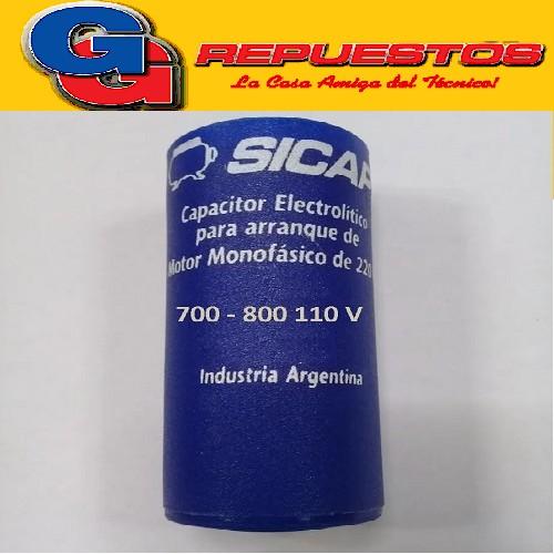CAPACITOR ARRANQUE SICAP 700 - 800 MF - 110 V