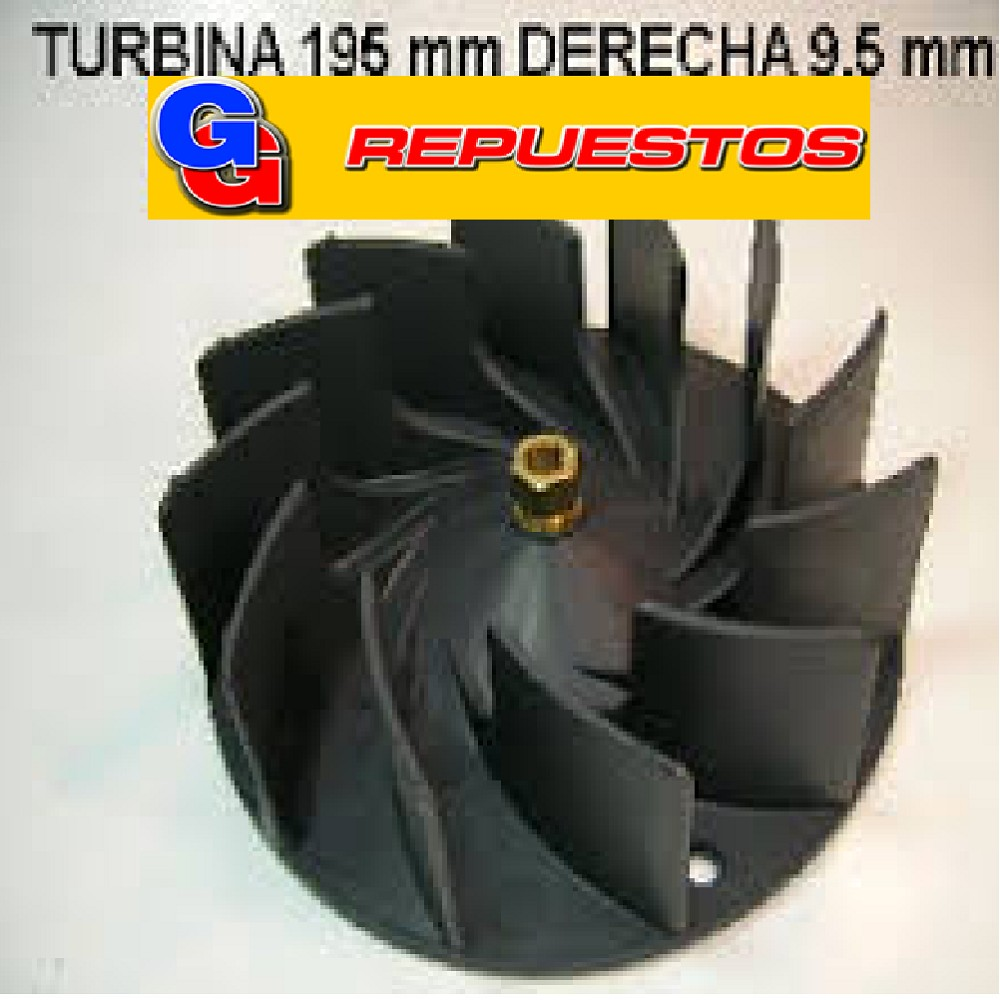 TURBINA PURIFICADOR EXTRACTOR DE COCINA 195 mm C/TCA DE BRONCE DER.9.5mm