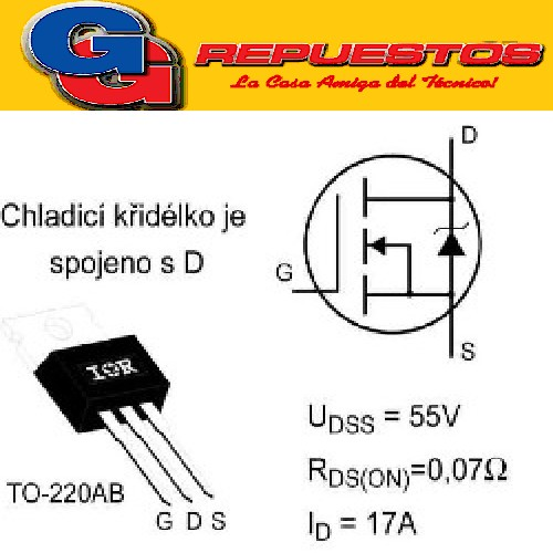 TRANSISTOR FET IRFZ 24N N-channel Power MOSFET (Vdss=55V, Rds(on)=0.07ohm, Id=17A)
