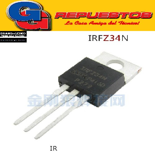 TRANSISTOR FET IRFZ 34N Power MOSFET(Vdss=55V, Rds(on)=0.040ohm, Id=26A)
