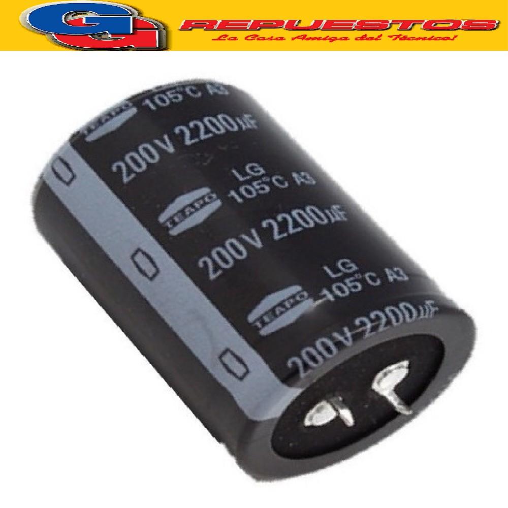CAPACITOR ELECTROLITICO 2200uFX200V (35x55mm) Blindado